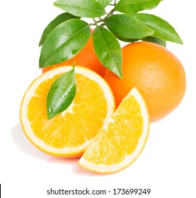 Orange, leaf and slice isolated on a white background.