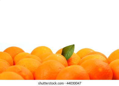 Orange and leafs of orange tree composition on pure white background