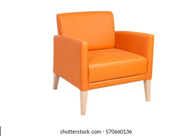 orange leather chair isolated on white