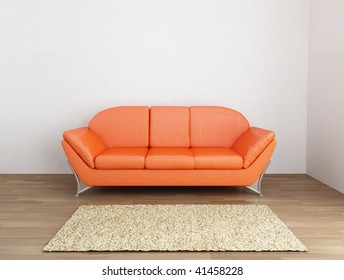 Orange leather Couch to face a blank wall