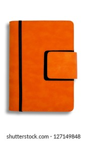 Orange leather modern organizer cover with ribbon, drop shadow on white background