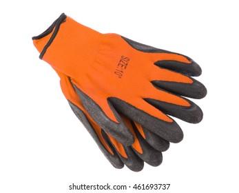 Orange leather work gloves isolated on white background