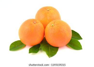 Orange with leaves, fruits isolated on white background.