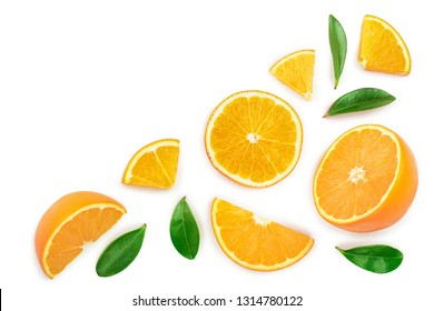 orange with leaves isolated on white background with copy space for your text. Top view. Flat lay