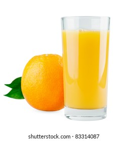 Orange with leaves and juice isolated on white background