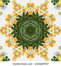 Orange and lemon fruits in mandala in white background