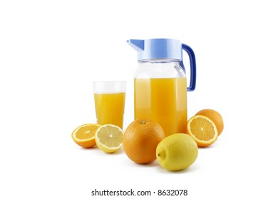 orange and lemon juice isolated on white