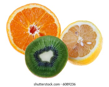 Orange lemon and kiwi slice isolated on white background detail