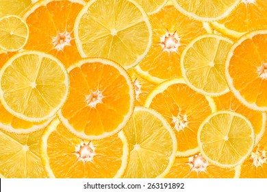 Orange And Lemon Slice Abstract Seamless Pattern