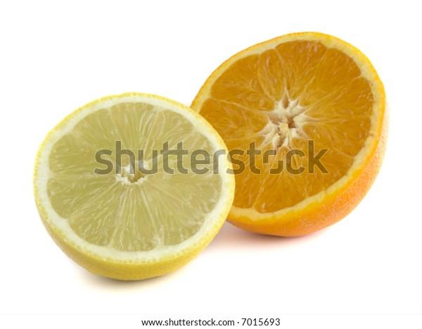 Orange & Lemon: Straight Product Shot taken in Studio in Natural Light isolated against White Background