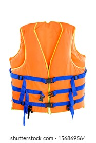 Orange Life jacket with isolated white background