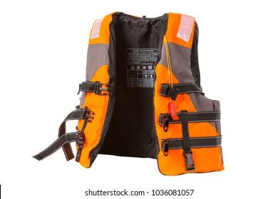 orange life jacket on white background, vest undone, isolated