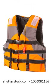 orange life jacket on white background, vest buttoned, isolated