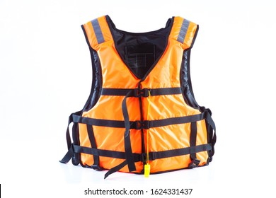 orange life jacket on white background, vest undone, isolated.