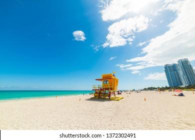 Orange lifeguard tower in world famous Miami Beach. Southern Florida, USA