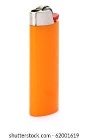 Orange lighter isolated on white