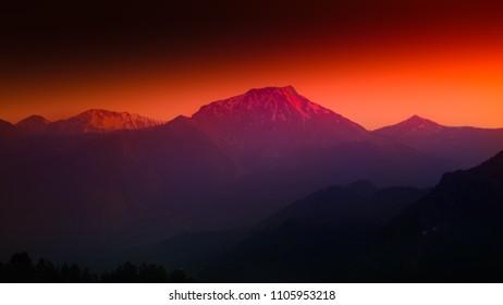 orange lilac highland sunset