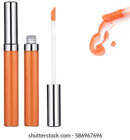 Orange Lip Gloss tube, sample, isolated on white background