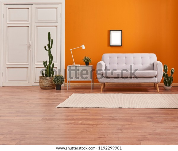 Orange Living Room Orange Wall Background Stock Photo (Edit ...
