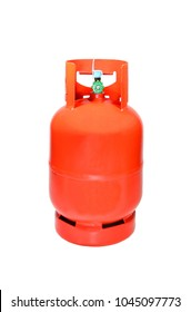 Orange LPG cooking gas cylinder or propane tank, isolated on white background