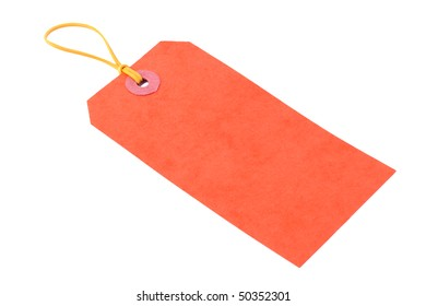 Orange Luggage Tag on an Isolated White Border