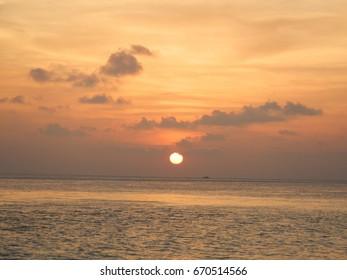 Orange Maldives sunset