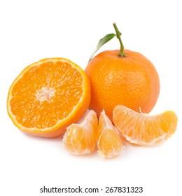 Orange mandarins with green leaf isolated on white background