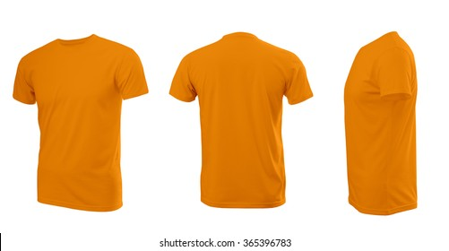d9743afc4 Orange man's T-shirt with short sleeves with rear and side view on a white