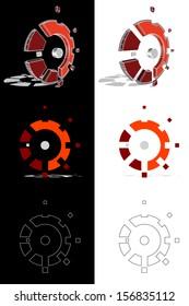 Orange mechanic gear logo set.