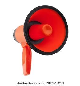 Orange megaphone on white background isolated close up, hand loudspeaker design, red loudhailer or speaking trumpet sign illustration, announcement or agitation symbol, media or communication icon