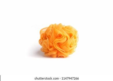 Orange mesh shower sponge aka Bath puff, Bath Body Scrubber Loofah on white background