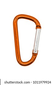 Orange metal aluminum snap hook isolated on white background. Safety lock carabiner for rope climbing