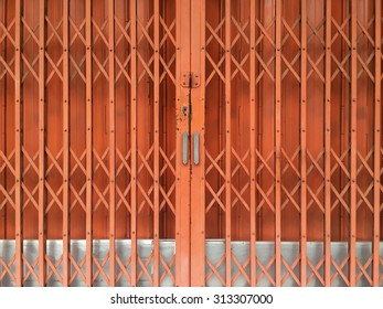 Orange metal door