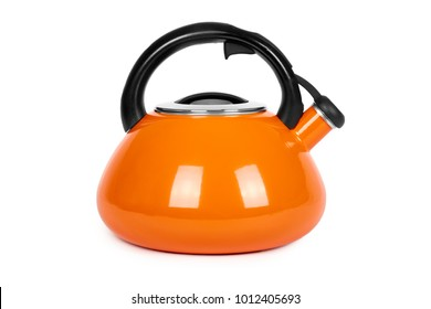 Orange metal kettle isolated on white background