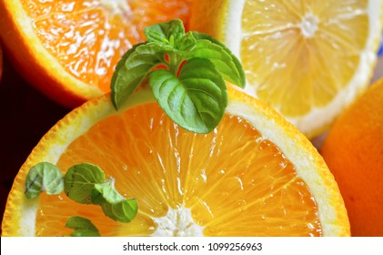 Orange with mint leaf juice. Healthy refreshments drink