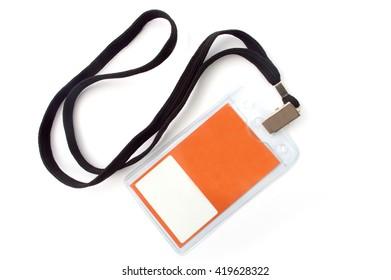 Orange name tag isolated on white background