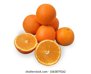 orange navel 5 pieces and slices one piece on white background