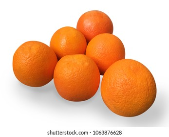orange navel 7 pieces on white background with shadow