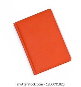 Orange notebook isolated on a white background. Top view