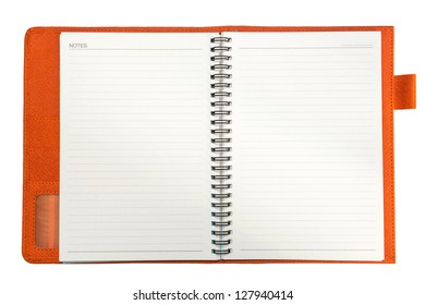 Orange notebook on a white background