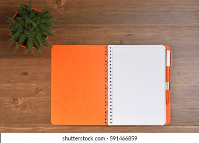 Orange notebook, pen, pot with cactus on the wooden table