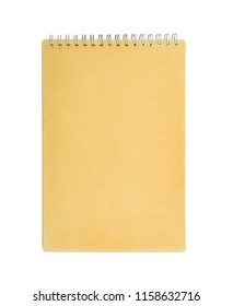 Orange notepad with spring isolated on white background.