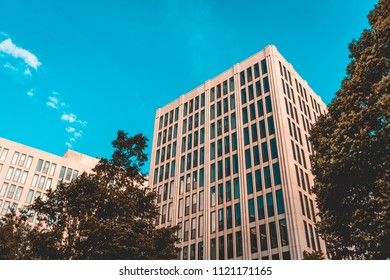orange office building with long and high contrasted windows