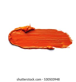 orange oil paint BRUSH STROKES isolated on white background