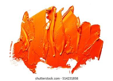 orange OIL PAINT spot ON A WHITE BACKGROUND