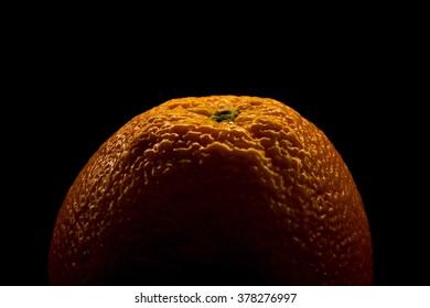 Orange on Black Background, Close-up