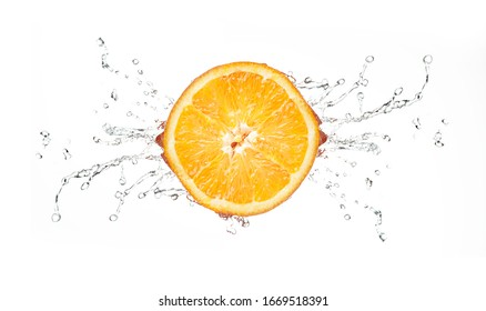 Orange on a white background with beautiful splashes of water.
