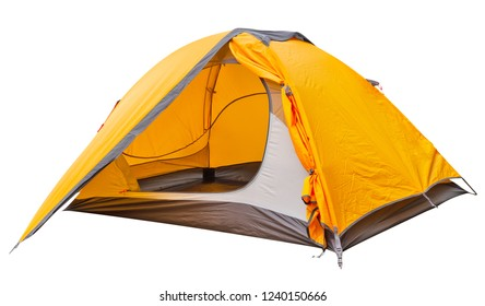 Orange open tourist tent isolated on white background