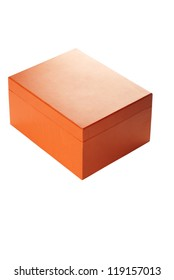 orange paper box isolated on white