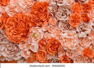 orange paper flower backdrop